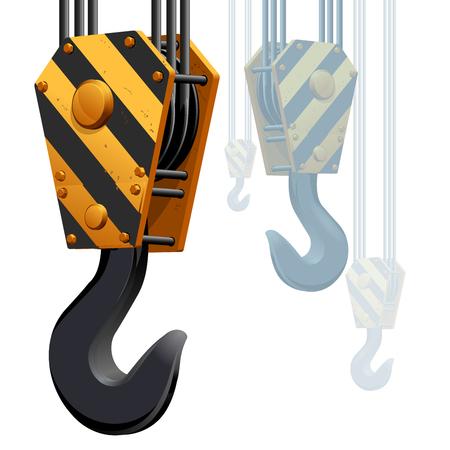 Building construction crane hook isolated on white background.