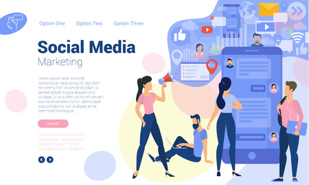 Flat design  web page template for social media digital marketing, business strategy and analytics. Trendy vector  illustration concept for website and mobile app. Фото со стока - 108290507