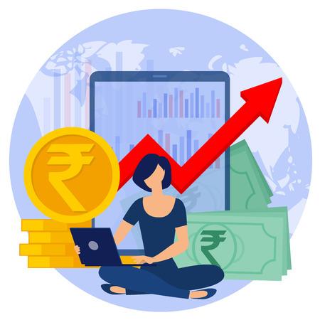 Indian Rupee digital worldwide outsource business flat design vector concept.