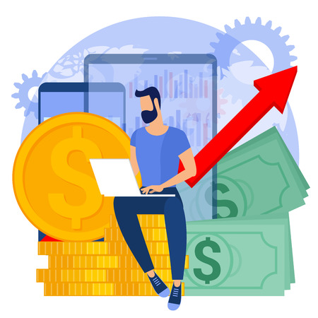 Flat design vector  business concept with globe, chart working gear, gadgets, gold coins and banknote stacks.   The investor growing  money abstract. Иллюстрация