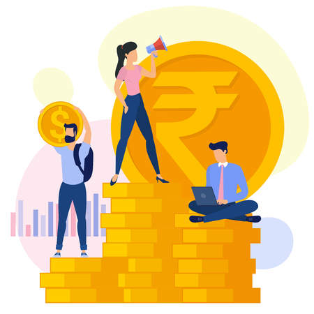 Indian Rupee and US dollar flat design vector international business team work concept workflow management investor growing money abstract. 向量圖像