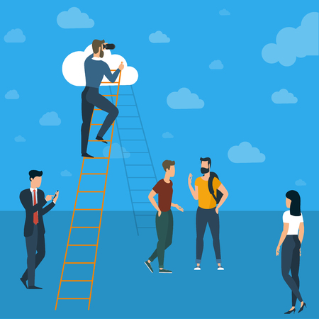 Ladders to clouds vector template. Man climbing  to clouds in the sky. Vector template for banner, presentation. infographics, brochure cover design. Concept for career, success, competition
