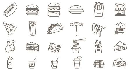 Thin line faast food vector icon set