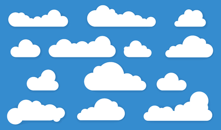 Cloud shapes with long shadows . Vector design elements set.