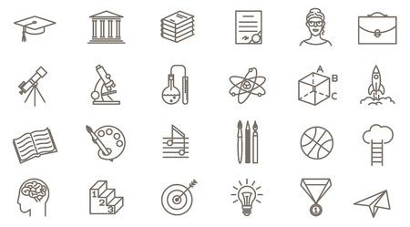 Jeu d'icônes d'éducation en ligne de fine ligne vectorielle. Collection de symboles d'école de design plat, de collage et d'université sur fond blanc. Lignes uniquement, épaisseur de ligne facile à modifier