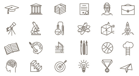 Thin line vector online education icon set. Flat design school, collage and university  symbols collection  on white background. Lines only, easy to edit line weight