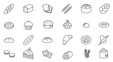 Thin line bakery vector icon set