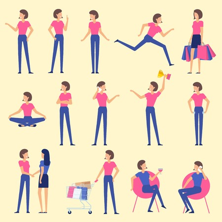 Set  flat design woman character animation poses - speaking, shopping, talking phone, arm crossed, finger up, hand shake, winner,  siting, meditation, relaxation etc.