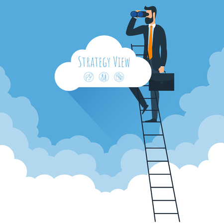 Strategy view and ladders to clouds vector template. Man climbing  to clouds in the sky. Vector template for banner, presentation. infographics, brochure cover design.