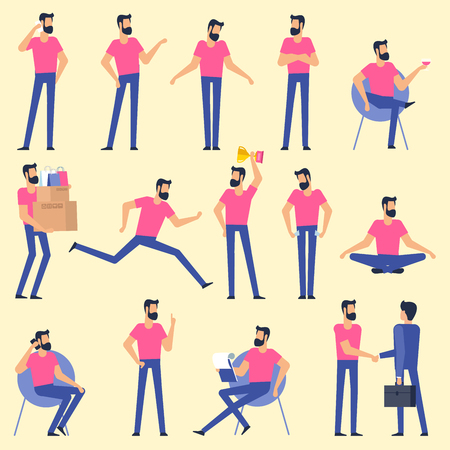 Set  flat design breaded young man character animation poses - speaking, shopping, talking phone, arm crossed, finger up, hand shake, winner,  sitting, meditation, relaxation etc.