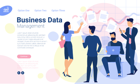 Flat design web page template for business data solutions and online bankind, business strategy and analytics. Trendy vector illustration concept for website and mobile app.