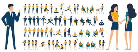 Set di pose di animazione del personaggio di uomo e donna dal design piatto: parlare, fare shopping, parlare al telefono, braccia incrociate, dito in alto, stretta di mano, vincitore, posizione, meditazione, relax ecc. Vettoriali