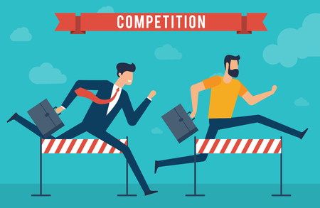 Young businessman with briefcase  jumping over the obstacle. Race for success. Flat design vector concept for achieving goals.