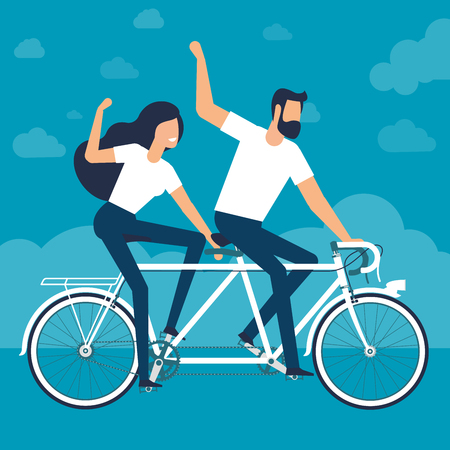 Young man and woman riding a tandem bike. Flat design verctor template.