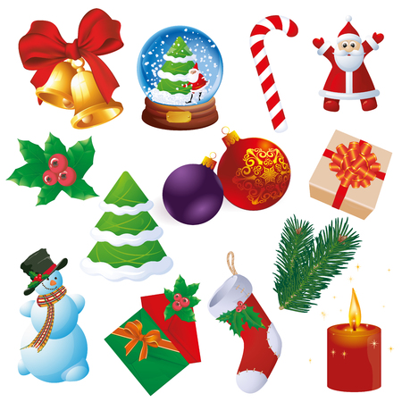 Christmas and new year design and decoration vector element set.