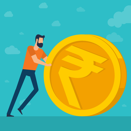 Young  man doing business rolling an indian rupee. Flat design  illustration for Indian rupee  financial and investmen. Trendy vector  illustration concept for website and mobile app. Illustration