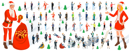 Isometric 3d flat design Christmas and New Year vector people set. Different characters, styles and professions, diverse acting poses collection. Varios poses, sitting, standing.