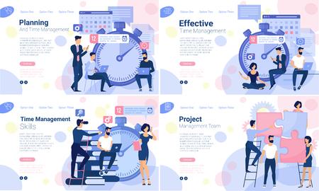 Flaches Design-Webseiten-Design-Vorlage für die Planung der Geschäftszeitleiste, den Trainings- und Kursplan, die Workflow-Zeitleiste. Vektorkonzept für Website und Präsentation.