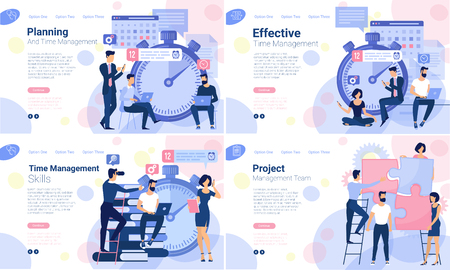 Flat design web page design template for business timeline planning, training and courses schedule, workflow timeline. Vector concept for website and presentation.