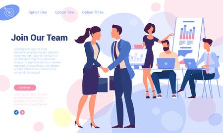 ¡Unete a nuestro equipo! Plantilla de vector de página web de reclutamiento y contratación de diseño plano. Hombre joven y mujer dándose la mano sobre el concepto de gente trabajadora de oficina para página de destino, plantilla, interfaz de usuario, web, aplicación móvil.