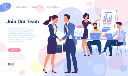 Join our team! Flat design recruiting and hiring web page vector template. Young man and woman shaking hands over office  working people  concept for landing page, template, ui, web, mobile app. Иллюстрация
