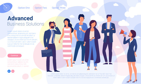 Social media promotion and ad flat design vector page template.  イラスト・ベクター素材