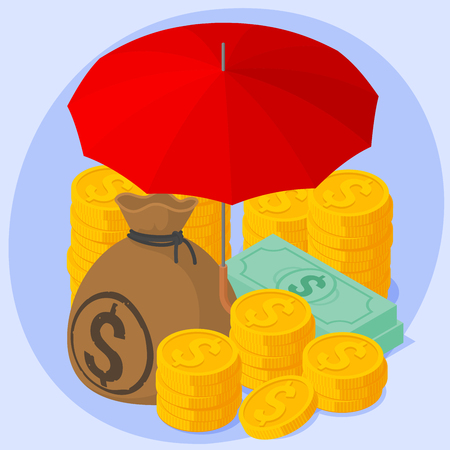 Safe and secure investments. Red umbrella, banknotes, bags of dollars and stacks of gold coins money and business protection vector concept.