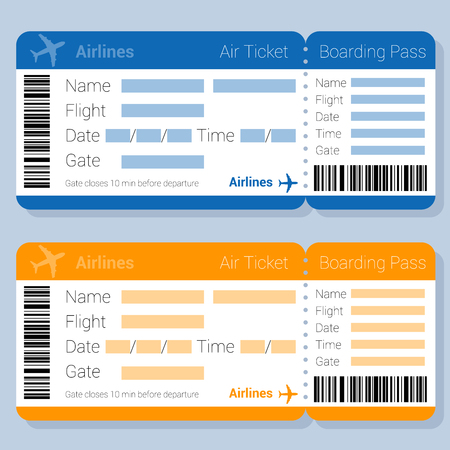 Modèle de vecteur de billet d'avion et de carte d'embarquement bleu et orange à plat. Maquette d'application de formulaire de réservation de billet d'avion en ligne pour application Web et mobile.