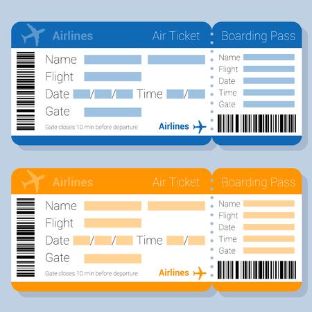 Modello di vettore di biglietto aereo e carta d'imbarco design piatto blu e arancione. Applicazione del modulo di prenotazione del biglietto aereo online mock up per app web e mobile.