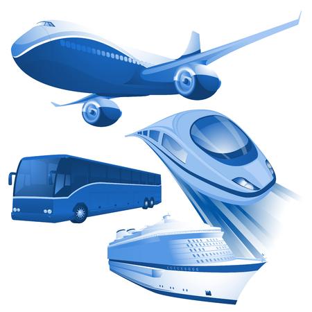 Icônes vectorielles bleues de transport aérien, ferroviaire, de bus et de bateau. Vecteurs