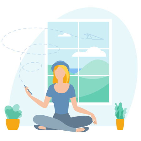 Vector illustration of a young woman working remotely. Promotion flat design vector template for a remote job and freelance.