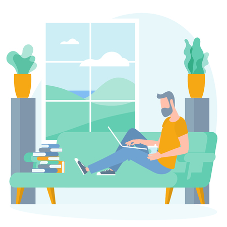 The best place for remote work. Young man is working outsourced sitting on the couch. lat design vector illustration, ready to animation vector concept for web site, presentation, mobile app. Ilustração