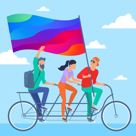 Young man and woman riding a tandem bike. Flat design business presentation template. Vector illustration of promotion to join creative and perspective startup project team. Illustration