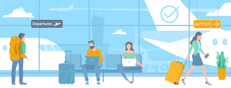 Flat design illustration of young men and women travellers at airport departure area waiting for flight. Webpage promotion and advertising template concept.