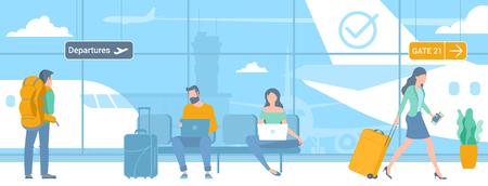 Illustration à plat de jeunes hommes et femmes voyageurs dans la zone de départ de l'aéroport en attente de vol. Concept de modèle de promotion et de publicité de page Web.