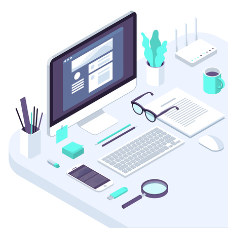 Isometric busines office flat design trendy color workspace concept illustration for . business, internet company, seo and financial analytics tools pofessional workplace. Ilustração Vetorial