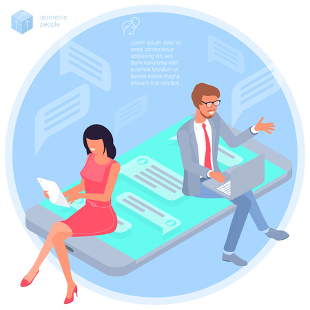Flat design isometric vector illustration of young man and woman business communication in the modern office. Trendy color concept of   teamwork and workflow for presentation, website and app design.