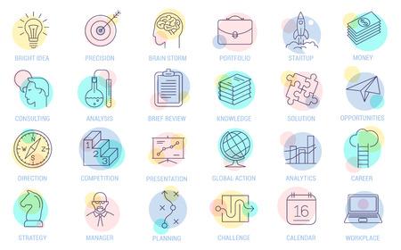 Jeu d'icônes de processus métier vecteur ligne mince. Collection de symboles d'organisation, de gestion et de stratégie marketing de conception plate sur fond blanc. Lignes uniquement, épaisseur de ligne facile à modifier. Vecteurs