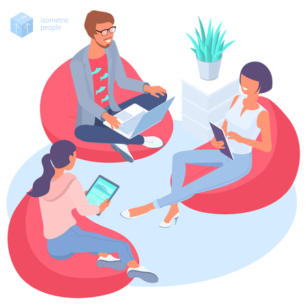 Flat design isometric concept of young people seating in bag chair in modern isometric office. Modern creative worcflow template for web page, infographics, mobile app. Vetores