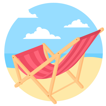 Bach chair at seaside. Vector concept for summer vacation ad, manner, website and presentation.  イラスト・ベクター素材