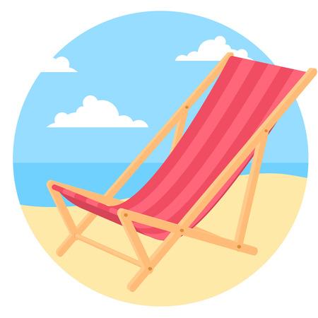 Silla de Bach junto al mar. Concepto de vector para anuncio de vacaciones de verano, forma, sitio web y presentación.