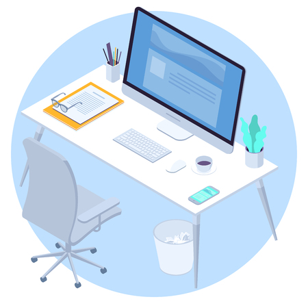 Modern office workspace with desk, computer chear, keyboard, mouse, cup of coffee and smartphone isometric  vector concept isolated on light blue background.