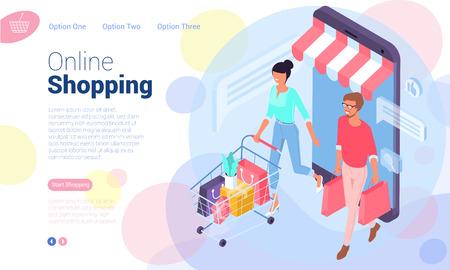 Flache isometrische Webseitenvorlage für Online-Shopping, digitales Marketing, Geschäftsstrategie und Analytik. Trendiges Vektorillustrationskonzept für Website und mobile App. Vektorgrafik