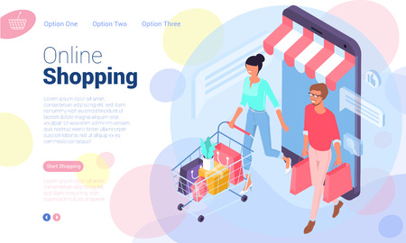Flat design  isometric web page template for online shopping, digital marketing,  business strategy and analytics. Trendy vector  illustration concept for website and mobile app.