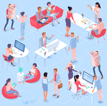 Flat design isometric vector illustration of young man and woman creative communication in the modern coworking. Trendy color concept of   teamwork and workflow for presentation, website and app desig