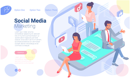Flat design vector concept for mobile social network connections, e-mail marketing, people chatting,. Testimonials concept with  young  people making social network comments.
