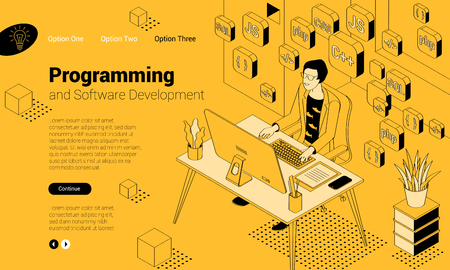 Flat design isomentric illustration of programmer at work.  Vector concept for  presentation, application, infographics and web banner. Illustration