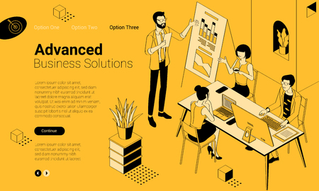 Black and yellow flat design isometric vector illustration of business communication in modern office. Trendy color template for teamwork and workflow for presentation, website and app design. Illustration