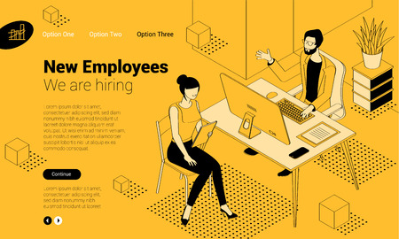 Balck and yellow isometric employee hiring interview concept  with man and woman people characters. Flat design  template for infographics, web design, banner, poster and mobile app. Illustration