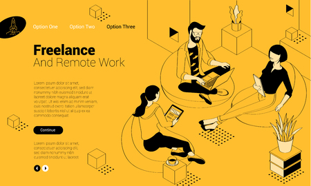 Flat design isometric vector illustration of young man and woman creative communication in the modern coworking. Trendy color concept of   teamwork and workflow for presentation, website and app design